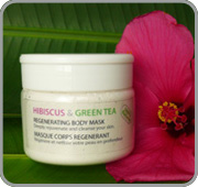 Detifying face mask with hibiscus and green tea